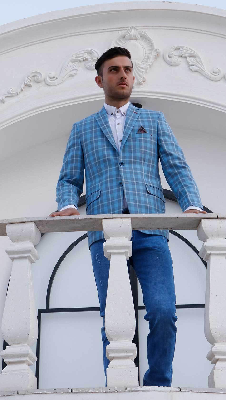 کت تک چهار خونه اسپرت رنگ آبی آسمانی سایت لومنز