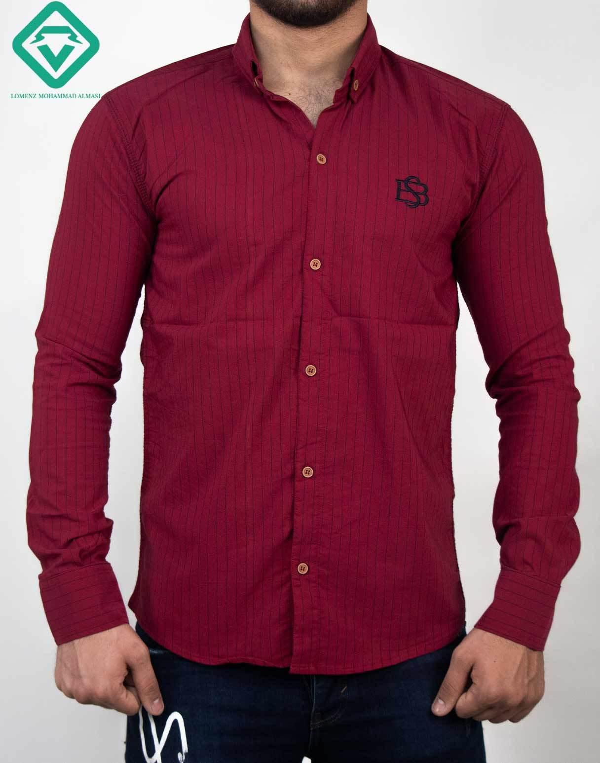 پیراهن آستین بلند اسپرت راه راه رنگ زرشکی | فروشگاه لومنز