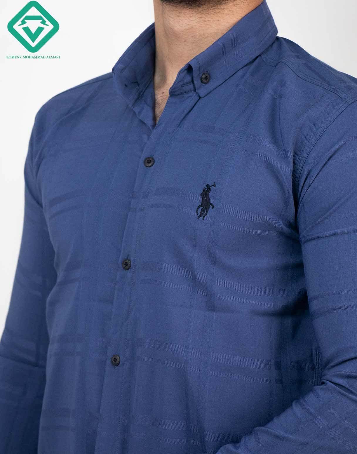 پیراهن آستین بلند اسپرت راه راه رنگ آبی کاربنی   فروشگاه لومنز
