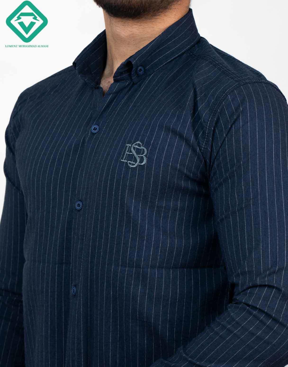 پیراهن آستین بلند اسپرت راه راه رنگ سرمه ای | فروشگاه لومنز