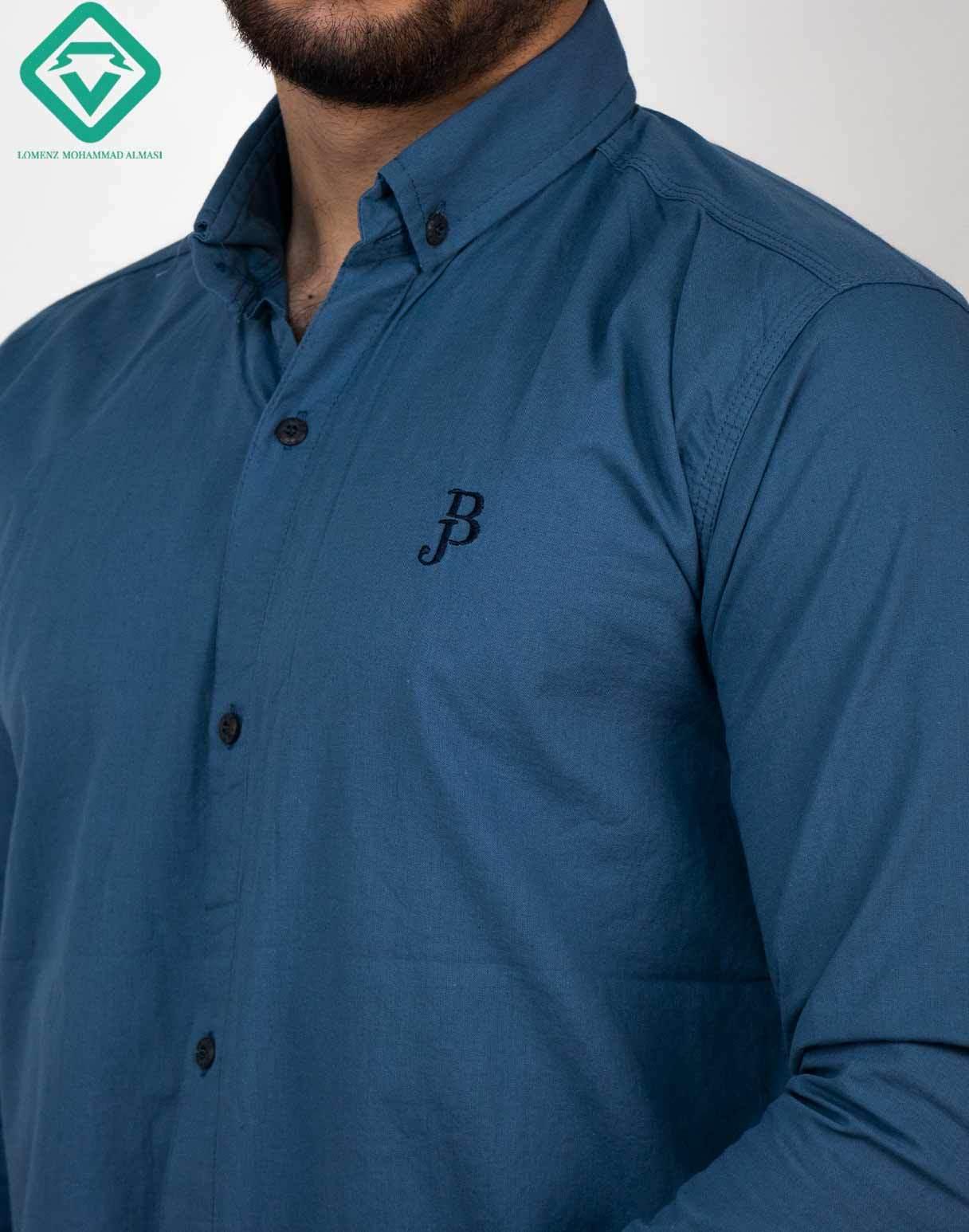 پیراهن آستین بلند اسپرت رنگ آبی کاربنی   فروشگاه لومنز