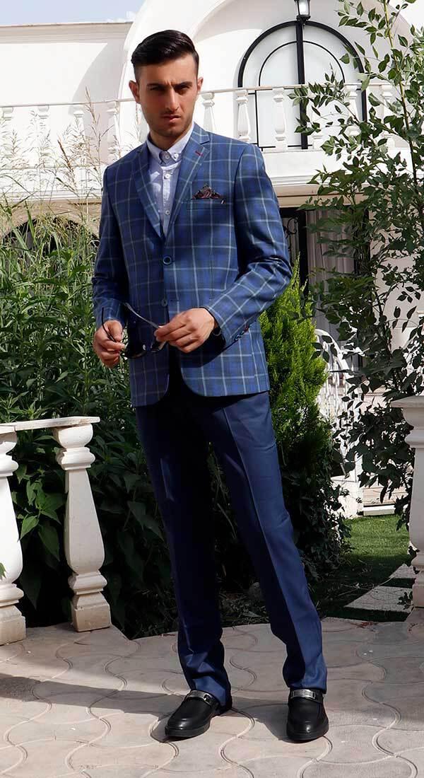 کت تک چهارخونه اسپرت رنگ آبی کاربنی سایت لومنز