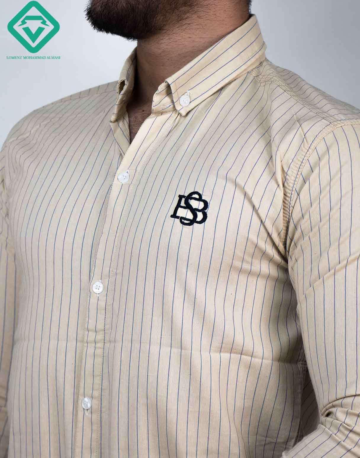 پیراهن آستین بلند اسپرت راه راه رنگ کرم | فروشگاه لومنز