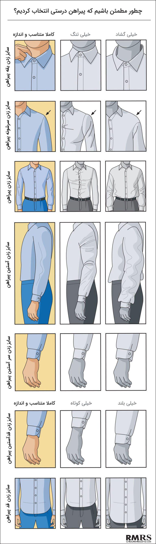 اینفوگرافی راهنمای سایز پیراهن مردانه