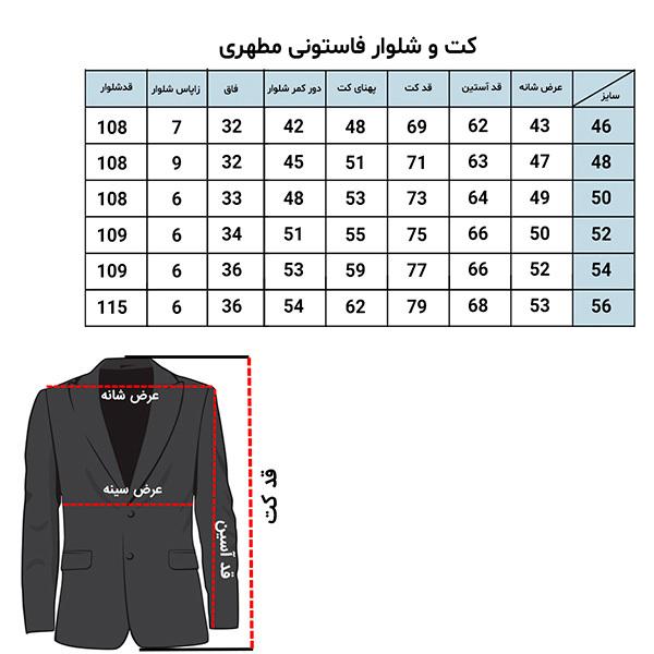 راهنمای سایز - راهنمای سایز کت - راهنمای سایز کت شلوار - راهنمای سایز کت و شلوار